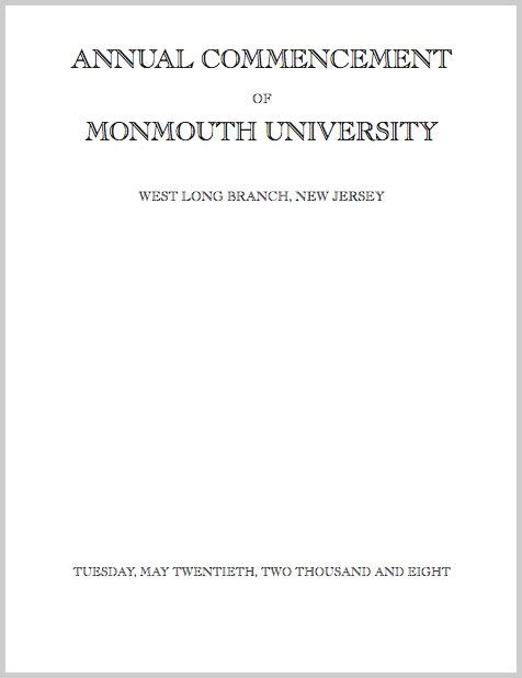 MU Commencement Program