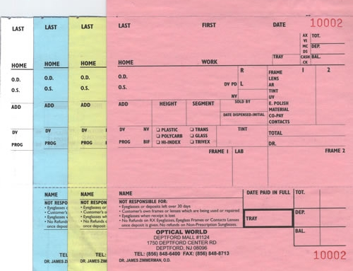 4-Part Carbonless Eyeglass Order Forms